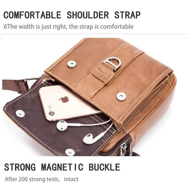 Men's BULLCAPTAIN leather goods vertical leather casual shoulder head layer cowhide multifunctional bag