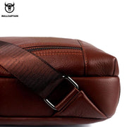 Men's BULLCAPTAIN Genuine Leather Cowhide Vintage Sling Chest Back Day Pack Travel fashion Cross Body Messenger Shoulder Bag