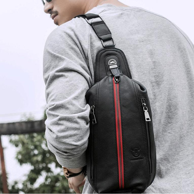 Men's BULLCAPTAIN Shoulder Bags Leather Crossbody Bags Male casual messenger bag sling chest bag