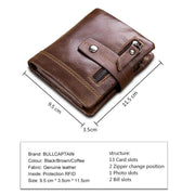 Men's BULLCAPTAIN RFID leather wallet fashion coin bag brand multi-function men's wallet high quality male card ID card holder