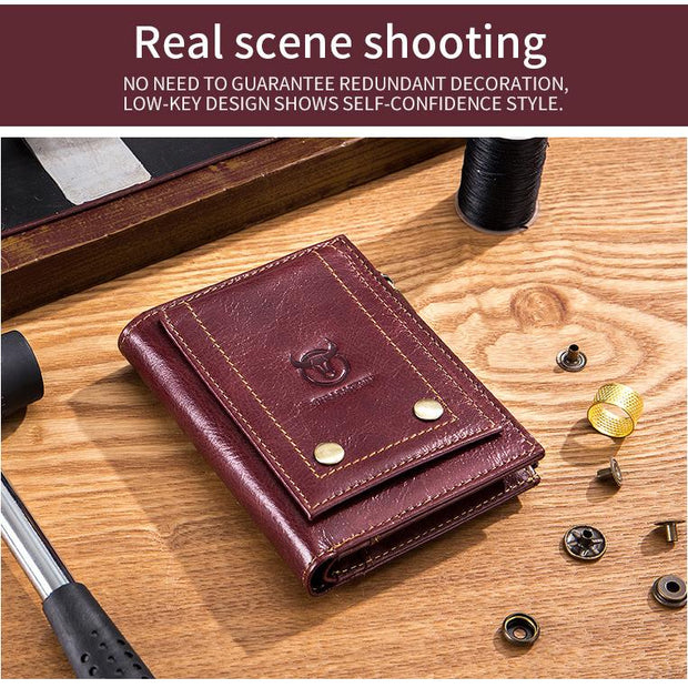 Men's BULLCAPTAIN  leather wallet vertical retro driver's license multi-card zipper wallet