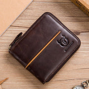 Men's BULLCAPTAIN genuine leather horizontal multi-card business card holder zipper driving license leather wallet