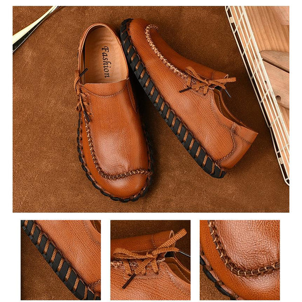 Men's casual leather handmade men's fashion trend shoes