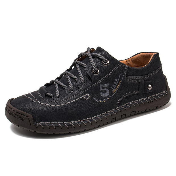 Men Microfiber Leather Hand Stitching Comfort Soft Casual Shoes