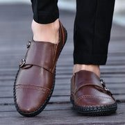 Men's Hand Stitching Non Slip Metal Slip On Casual Leather Shoes