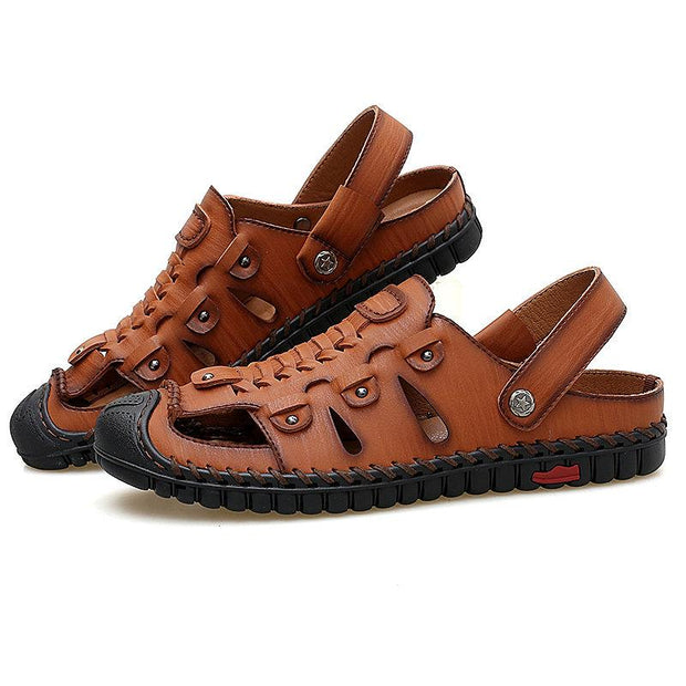 Men's Hand Stitching Woven Style Toe Protective Outdoor Leather Sandals