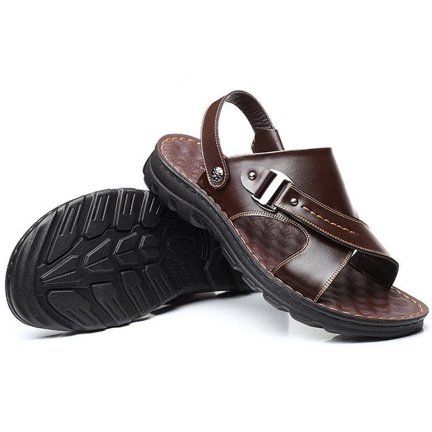 Men's Comfy Open Toe Adjustable Heel Strap Beach Leather Sandals