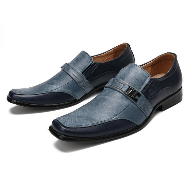 Men Stylish Color Blocking Square Toe Slip On Business Formal Dress Shoes