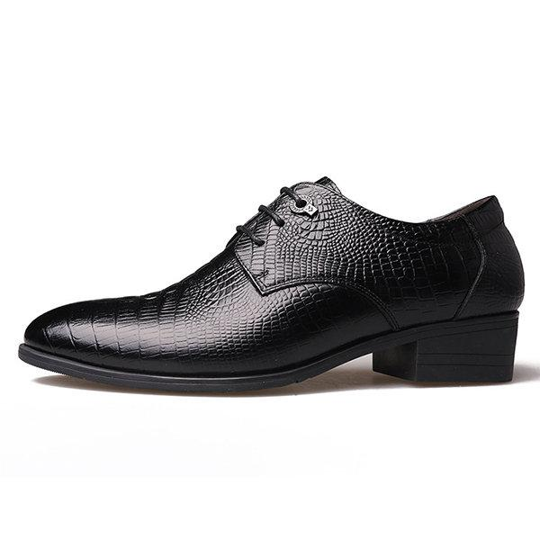 Men's Crocodile Pattern Classic Pointed Toe Lace Up Business Dress Shoes
