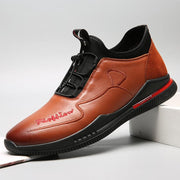 Men Non Slip Shock Absorption Elastic Lace Soft Causal Leather Shoes
