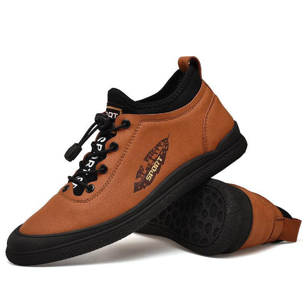 Men Genuine Leather Non Slip Soft Sole Elastic Lace Casual Shoes