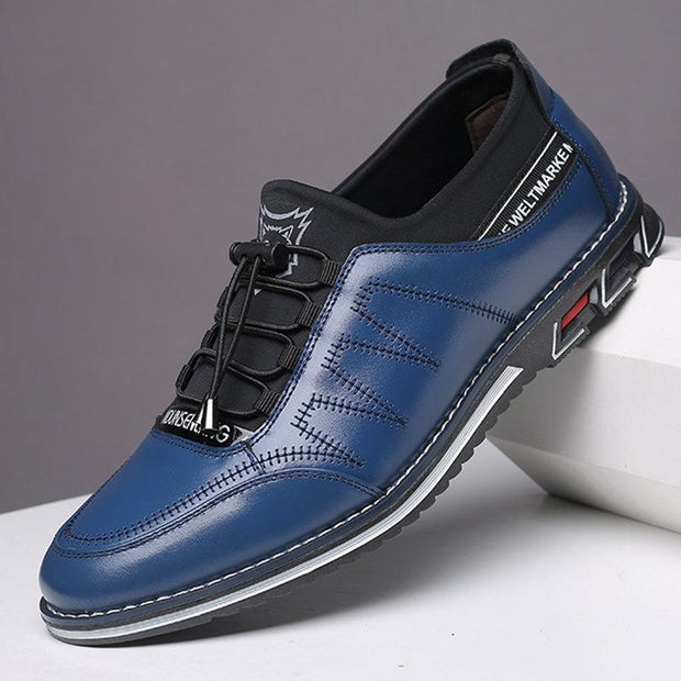 Men Splicing Non Slip Elastic Lace Soft Sole Casual Leather Shoes