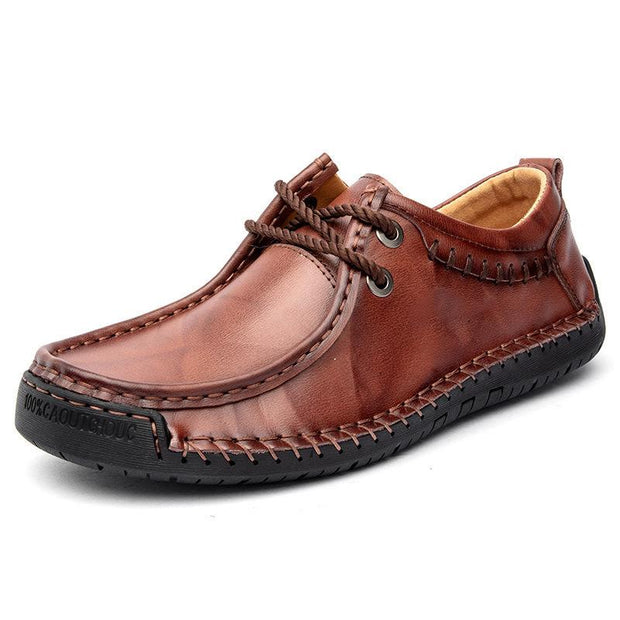 Men's large size lace-up men's shoes hand-stitched casual leather shoes