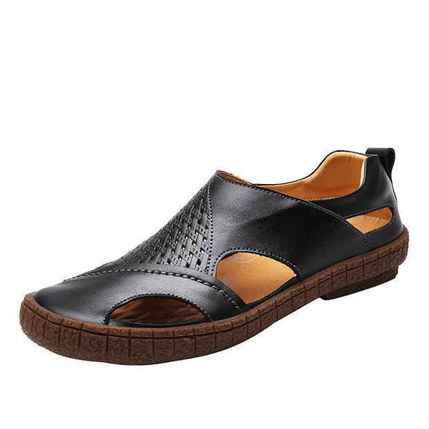Men's sandals leather toe slip casual beach shoes British business breathable men's shoes