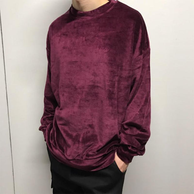 Men's Fashion Gold Velvet Round Neck Sweatshirt
