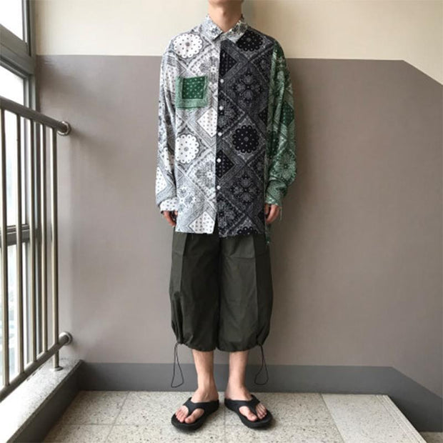 Men's Fashion Contrast Print Loose Casual Shirt