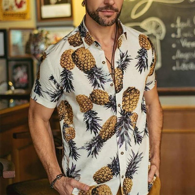 Men's Casual Pineapple Print Short Sleeve Shirt