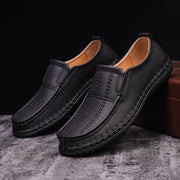 Men Hand Stitching Leather Non Slip Slip On Casual Shoes