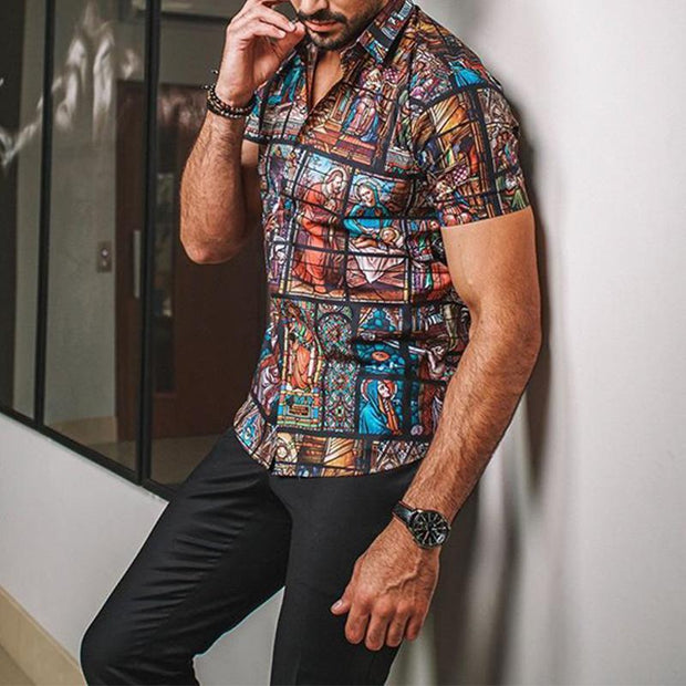 Men's Casual Vacation Color Print Shirt