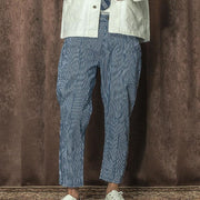 Casual blue striped pocket loose trousers