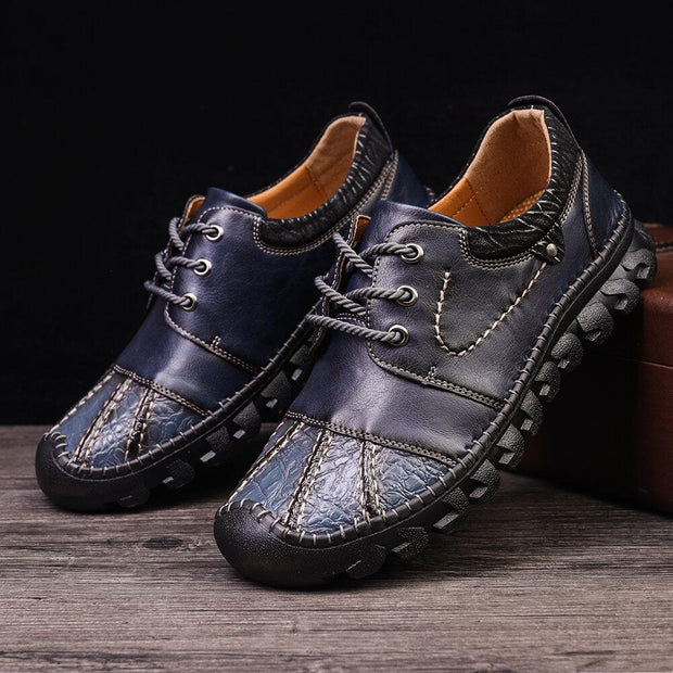 Men Delicate Hand Stitching Leather Splicing Non Slip Casual Shoes