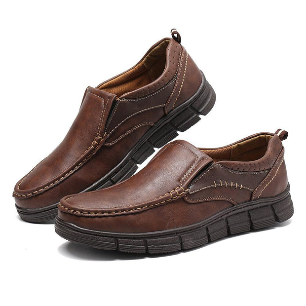 Men Microfiber Leather Non Slip Comfy Slip On Soft Casual Shoes