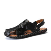 Men's leather sandals summer sports beach shoes slippers
