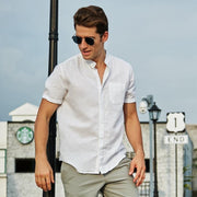 Men's Linen Solid Color Loose Short Sleeve Shirts