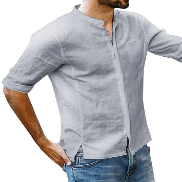 Men's solid color tie short-sleeve V buckle collar men's casual shirts