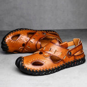 Men Hand Stitching Non Slip Soft Sole Casual Leather Sandals