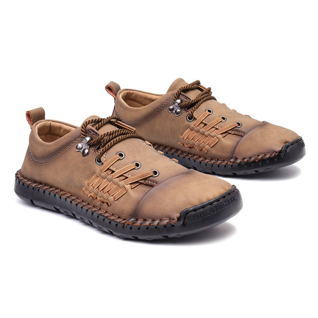 Men Stylish Microfiber Leather Hand Stitching Comfort Soft Shoes