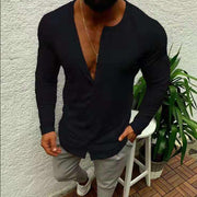 Men's Round Neck Plain Casual Single-Breasted Slim Shirt