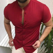 Men's Button Stand Collar Casual Single-Breasted Slim Shirt