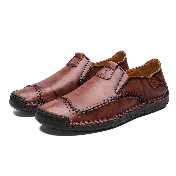Men Hand Stitching Non Slip Large Size Soft Sole Casual Leather Shoes