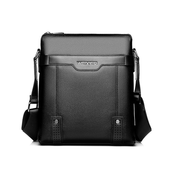 Men's PU Leather Business Casual Vintage Large Capacity Multi-function Crossbody Bag