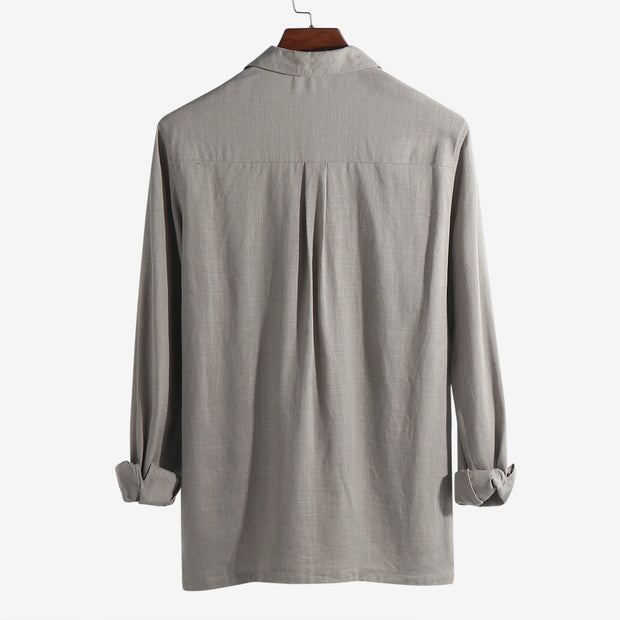Mens Breathable Linen Turn Down Collar Chest Pockets Long Sleeve Shirt