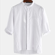 Mens Cotton Linen Casual Solid Plain 3/4 Sleeve Shirt