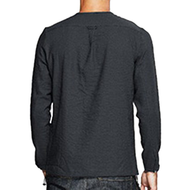Mens Zipper Solid Color O Neck Pocket Long Sleeve Casual Cotton Shirts