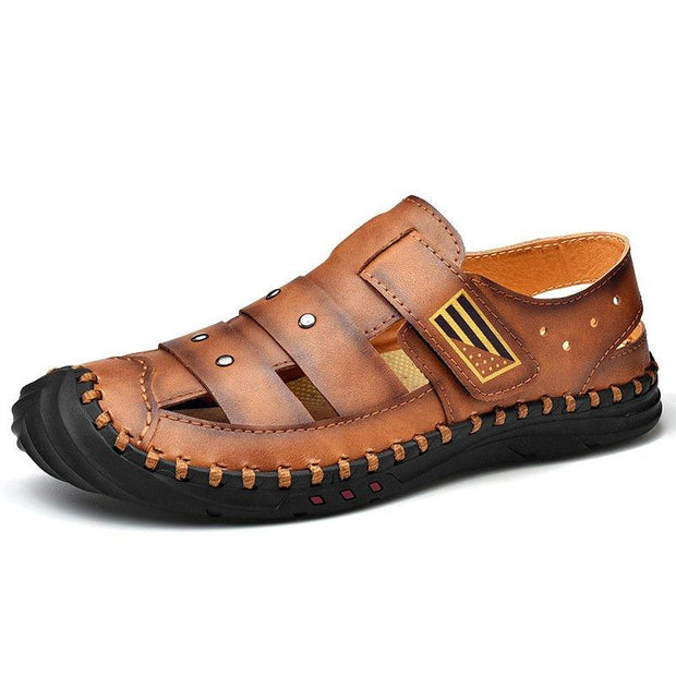 Men's Cow Leather Hand Stitching Non Slip Large Size Soft Sole Sandals