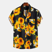 Men's Sunflower Oil Painting With Chest Pocket Short Sleeve Shirts