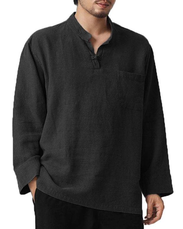 Mens Casual V-Neck Loose Solid Color Chest Pocket Long Sleeve T-shirt