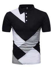 Men's Stylish Hit Color Patchwork Golf Shirt Breathable Cotton Slim Fit Business Casual Tops