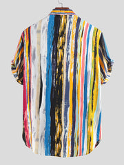 Men's Multi Color Graffiti Chest Pocket Round Hem Loose Short Sleeve Shirts
