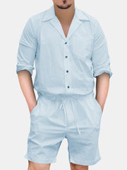Mens Breathable Retro Slim Fit Casual Jumpsuits Soild Color Loungewear Rompers Pajamas Sets