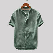Mens Cotton Linen Breathable Casual Vintage Pure Color Stand Collar Short Sleeve Shirt