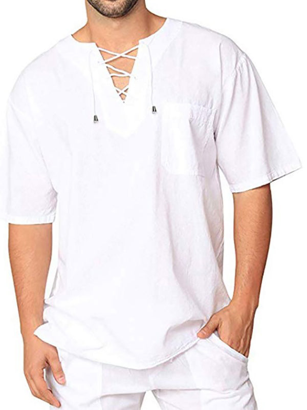 Men's cotton linen Vintage Loose Casual short-sleeved shirt