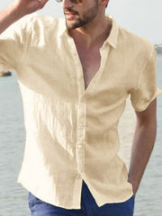 Men's casual short-sleeved solid color shirt