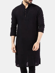 Mens Pathani Kurta Pajama Indian Long T-shirts Cotton Ethnic Suit Solid Autumn Long Sleeve Top