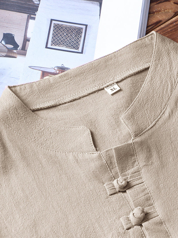 Men Linen Henley Shirts Pajamas Set Plain Breathable Drawstring Loungewear With Pockets