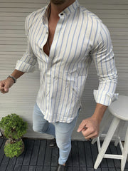 Men's striped casual slim fit shirt